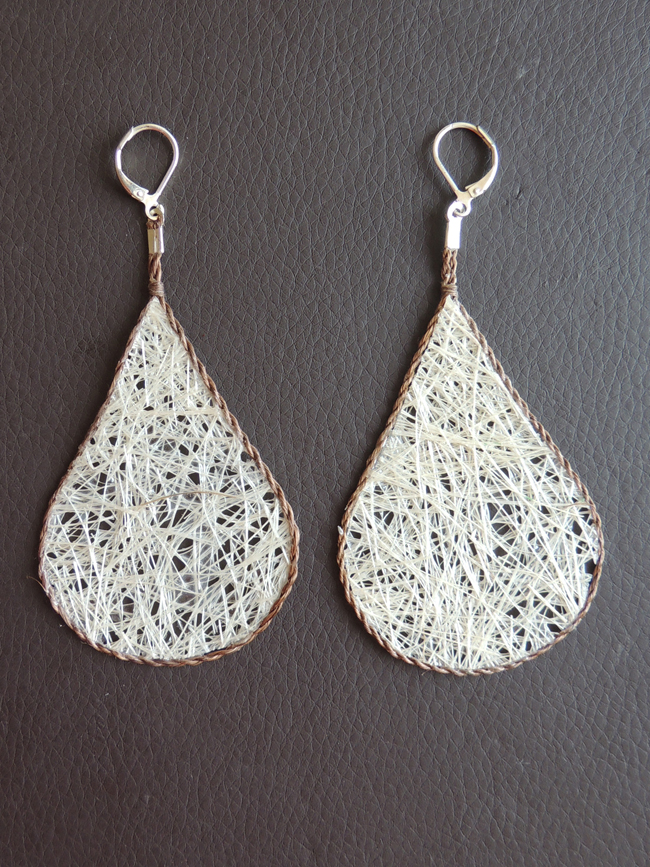 Lightweight earrings, jewelry made of fibers from Cabuya plant, an Agave.