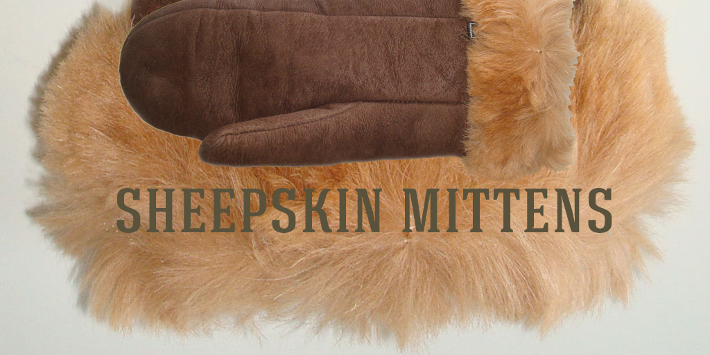 Classic sheepskin mittens with alpaca cuff