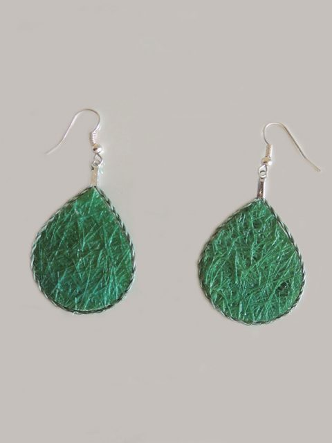 Lightweight earrings green, jewelry made of fibers from Cabuya plant, an Agave.