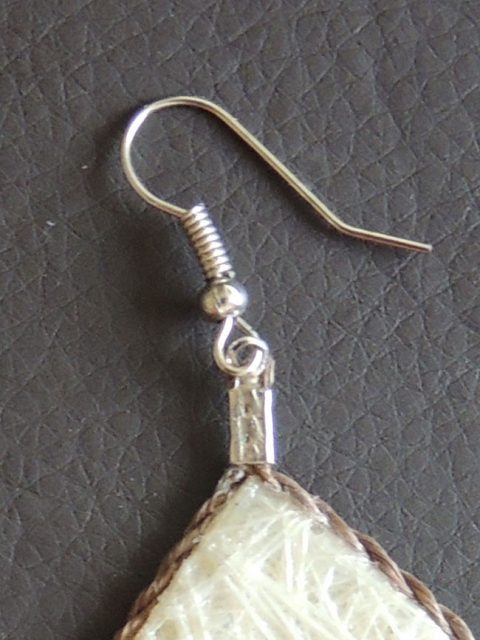 Lightweight earrings white, jewelry made of fibers from Cabuya plant, an Agave.
