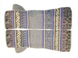 001-21-1001-04 Alpaca Fingerless knitted gloves grey-blue-multicolor