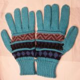 001-21-1002-01 Knitted Alpaca wool gloves green-multicolor