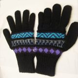 001-21-1002-02 Knitted Alpaca wool gloves zwart-turquoise multicolor