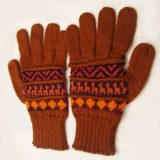 001-21-1002-04 Knitted Alpaca wool gloves brown-red multicolor
