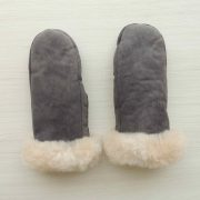 Mittens handmade of 100% natural Sheepskin and fur with luxary 100% soft baby alpaca cuffs in color gray