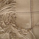 Warm Alpaca blend throw Isidro with a modern plaid pattern in beige-gray
