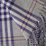 Warm Alpaca blend throw Isidro with a modern plaid pattern in grey-blue-pink