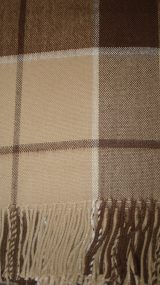 Warm Alpaca blend throw Isidro with a modern plaid pattern in beige-brown