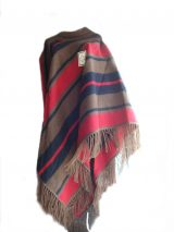 Poncho in Alpaca wool blend with colorful lines motif and fringes at the edges
