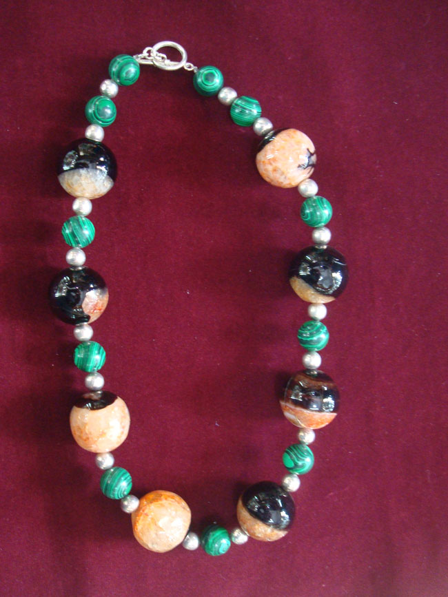 Jewelry, Agatha malaquita, necklace in a combination of Agatha, Malachite pearls and silver 950