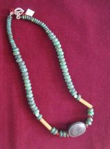 "Jewellery ""Crisocola"" necklace in a combination of Chrysocolla pearls, cow eye seed, bamboo details and silver 950"