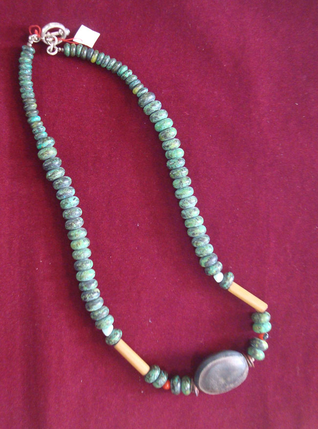 Jewelry, Crisocola, necklace in a combination of Chrysocolla pearls, cow eye seed, bamboo details and silver 950