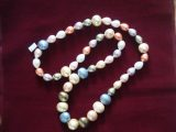 "Jewellery ""colorful pearls"" necklace enamel imitation pearls in different colors"