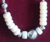"Jewellery ""mother of pearl"" necklace in silver 950 with carved mother of pearl, pearls"