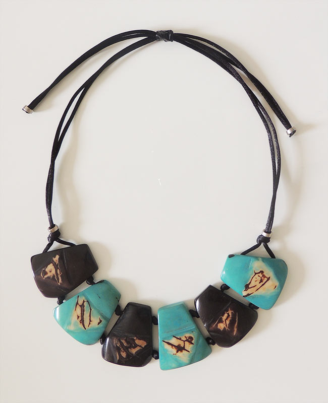 Jewelry necklace organic tagua dark brown-turquoise