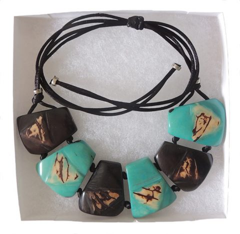 "Jewelry ""Taqua dark brown-turquoise"" necklace"