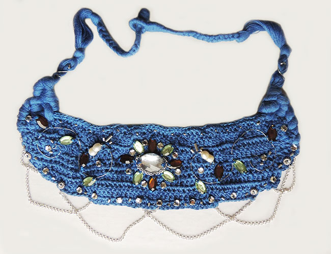 Jewelry, cotton and pearls, necklace made of a handmade crochet cotton base with colorful stones and silver 950 details