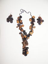 "Jewellery ""Rosas Negro"" set necklace and earrings of black roses"