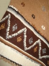 Poncho 100% Alpaca wool in natural colors, hand woven with camel color combinations