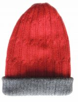Double knitted, reversible hat in Alpaca blend in shades of red and gray.