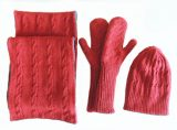 Women's Fashion, Winterset consisting of double reversible knitted gloves, scarf and hat in a Alpaca wool blend