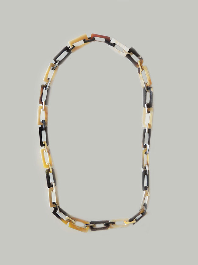 PFL rectangular necklace chains, made in bull horn.