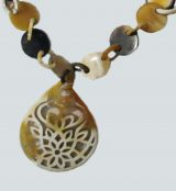 PFL buttons necklace with chains and racket design, made in bull horn.