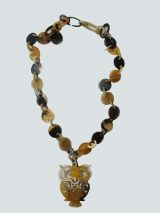 PFL owl pendant necklace, made in bull horn.