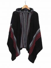 Cape 100% baby alpaca, black Hooded knitted cape /cloak in luxurious super soft and silky baby alpaca wool