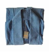 Classic fine kintted loose fit cardigan in luxurious ultra soft baby alpaca, blue.