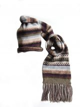 Knitted alpaca wool scarf with stripes in green-beige-multi, unisex.