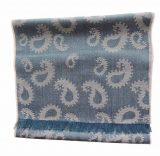 Scarf denim blue / grey with paisley pattern and short fringes in a blend of baby alpaca and silk