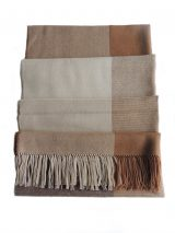 Scarf brown-beige color pattern with fringes at the end, in baby alpaca