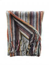Scarf multi color, with stripe pattern and fringes in alpaca. Unisex
