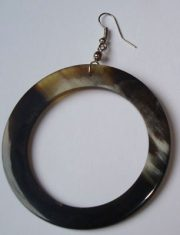 PFL earrings, round large, handmade of buffalo horn.