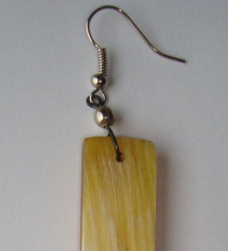 PFL earrings, rectangular figure handmade of buffalo horn.