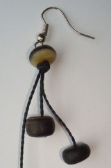 PFL earrings, ball figure handmade of buffalo horn.