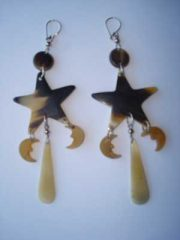 PFL earrings, stars-moon figure handmade of buffalo horn.