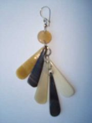 PFL earrings, tears figure handmade of buffalo horn.