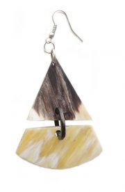 PFL earrings, triangle figure handmade of buffalo horn.