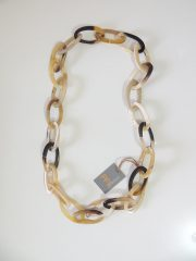 PFL necklace with large oval link chain, handmade of polished buffalo horn.
