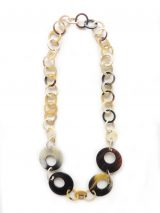 PFL necklace with round link chain, different sizes, handmade of polished buffalo horn.