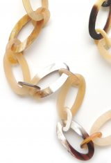 PFL necklace with oval links, handmade of polished buffalo horn.