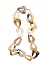 PFL necklace with triangular links with rounded corners and small oval links handmade of polished buffalo horn.