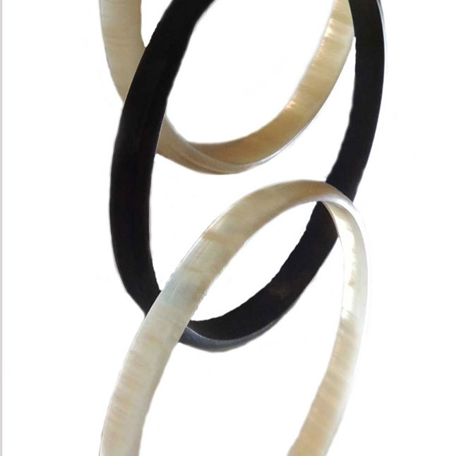 PFL bracelets set (4) round, handmade of polished buffalo horn.