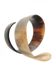 PFL bracelet spiral design, handmade of polished buffalo horn.