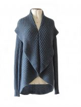 PFL, Full knitted open cardigan model Keyla in a soft alpaca blend, steelblue