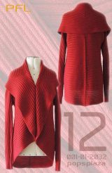 PFL Full knitted open cardigan model Keyla in a soft alpaca blend, red