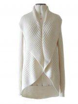 Full knitted open cardigan model Keyla in a soft alpaca blend, creme