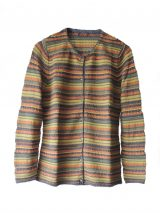 Women's fashion knitted cardigan with stripes, in luxury super soft baby alpaca, with round neck